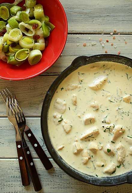 Filety drobiowe w sosie z sera pleśniowego